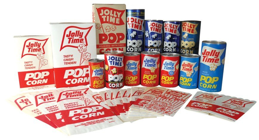 Jolly Time popcorn items (29), 14 sacks, 4 boxes, 9 cdb