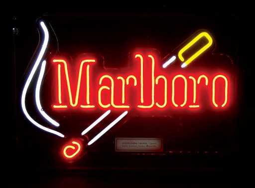Neon Sign Marlboro Cigarette Logo In Plastic Casing
