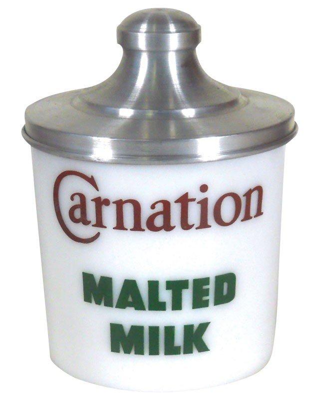 Carnation Malted Milk advertising milk-glass counter ja