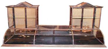 Countertop showcase, double tower steeple case in nicke
