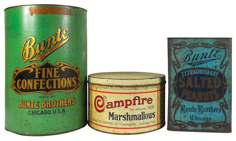 Country store tins (3), Bunte Fine Confections made by