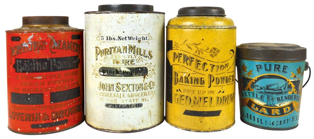 Country store tins (4), Pure Kettle Rendered Lard pail