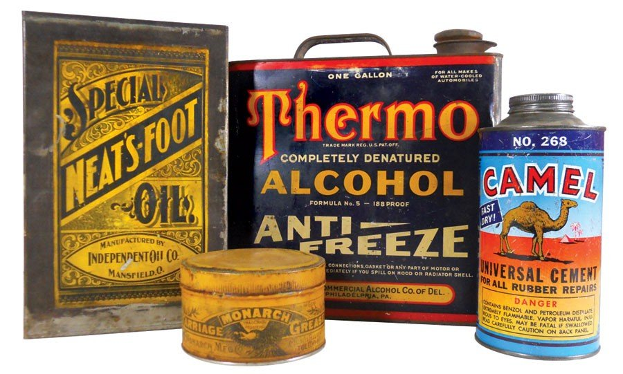 Country store tins (4), Special Neat's-Foot Oil mfgd by