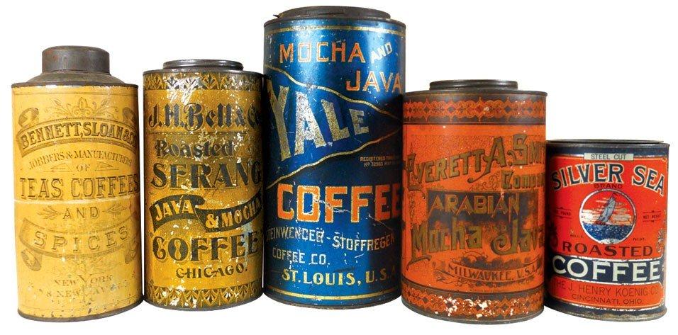 Country store coffee & tea tins (5), Arabian Mocha & Ja