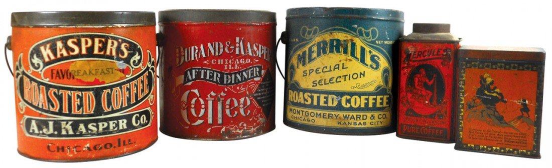 Country store coffee & tea tins (5), Durand & Kasper Co