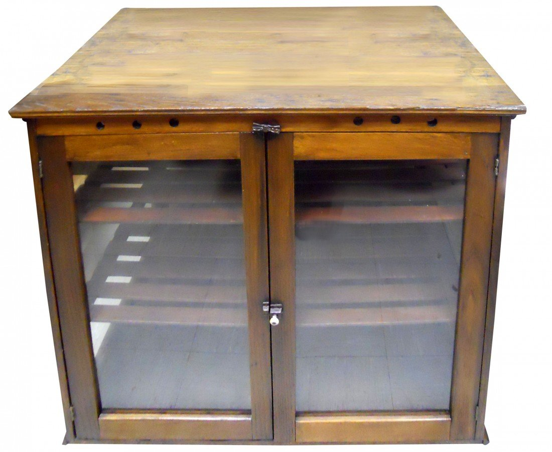 Country store floor display case, wood w/glass sides, g