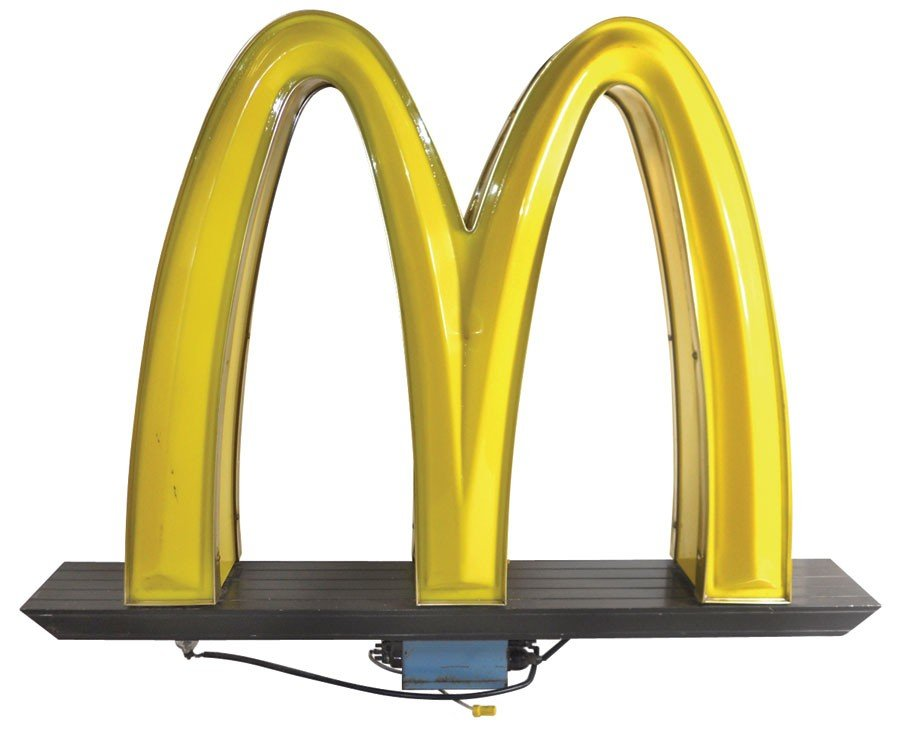 McDonald's golden arches sign, molded plastic light-up,