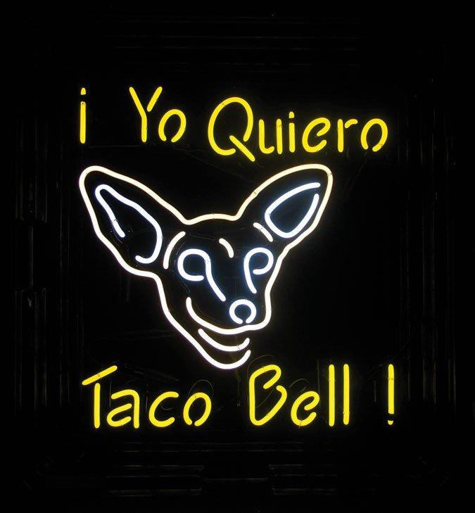 Neon sign, i Yo Quiero Taco Bell (dog logo), in plastic