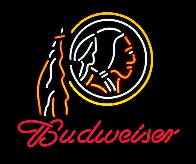 Neon sign, Budweiser, Washington Redskins (Skins logo),
