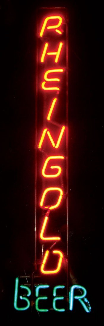 Neon sign, Rheingold Beer (vertical), 2-color, red/whit