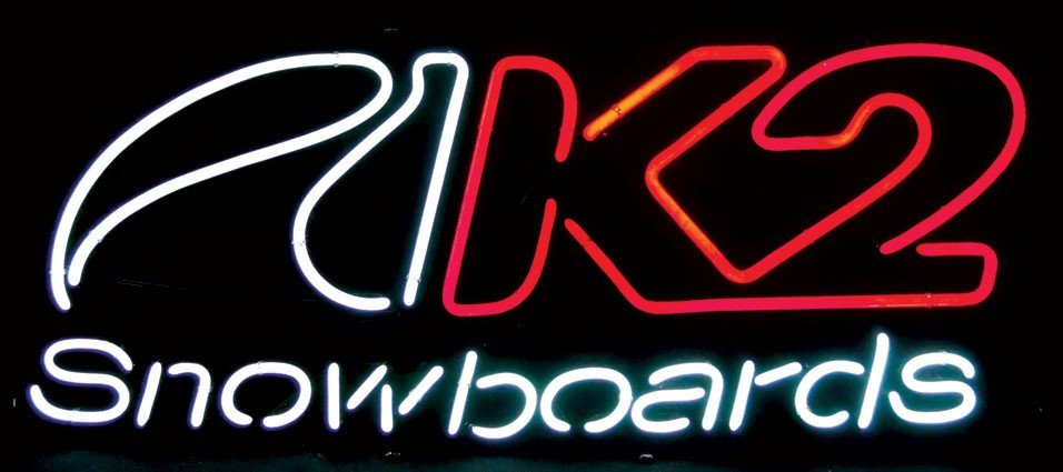 Neon sign, K-2 snowboarding, 2-color, red/white, Exc wo