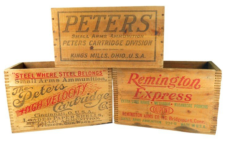 Ammunition boxes (3), 2 are Peters & 1 Remington, 2 are