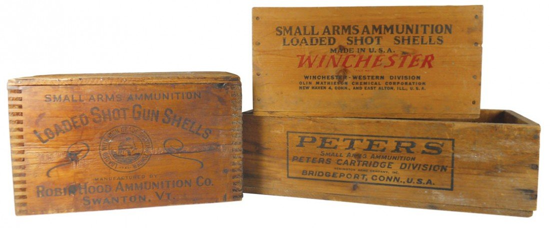Ammunition boxes (3), Robin Hood Ammunition Co. wood bo