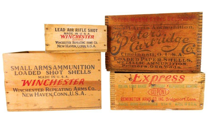 Ammunition boxes (4), dovetailed Peters & Remington & 2
