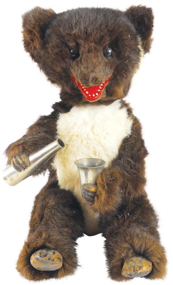 Toy, furry drinking bear w/metal bottle & glass, head &