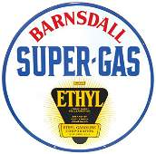 Petroliana, Barnsdall Super-Gas porcelain 2-sided hangi