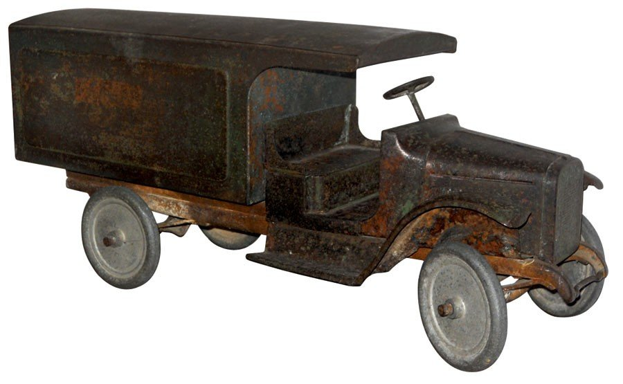 Toy, Buddy L delivery truck, pressed steel, hooded unre
