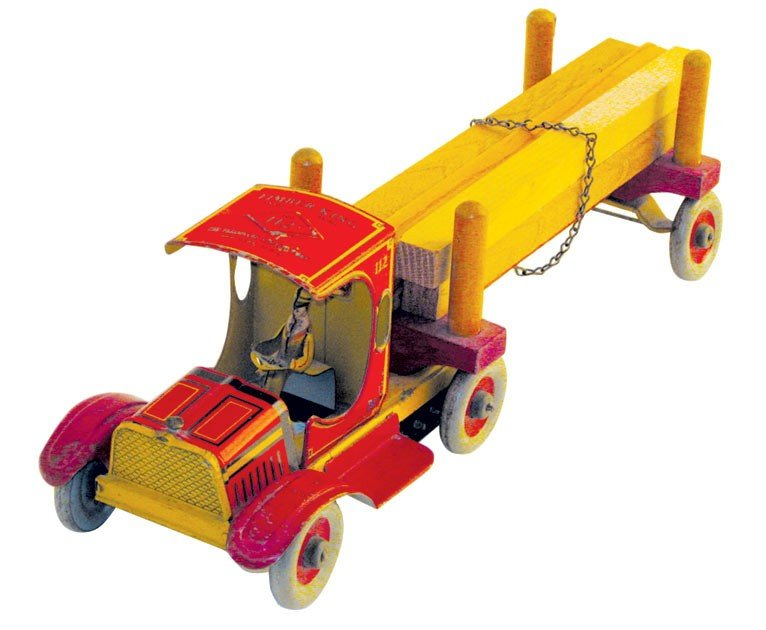 Toy, Timber King Lumber truck, litho on tin wind-up by