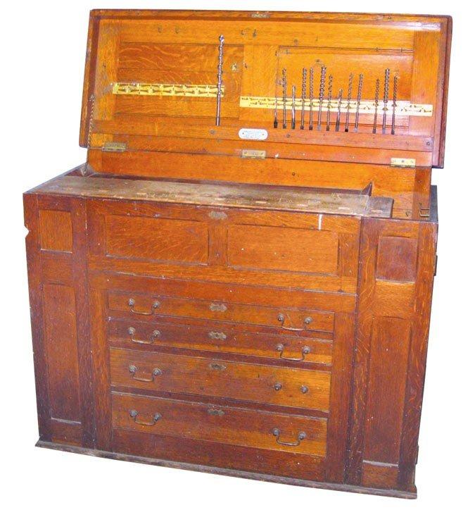 Tool box, oak floor model, mfgd by Hammacher, Schlemmer