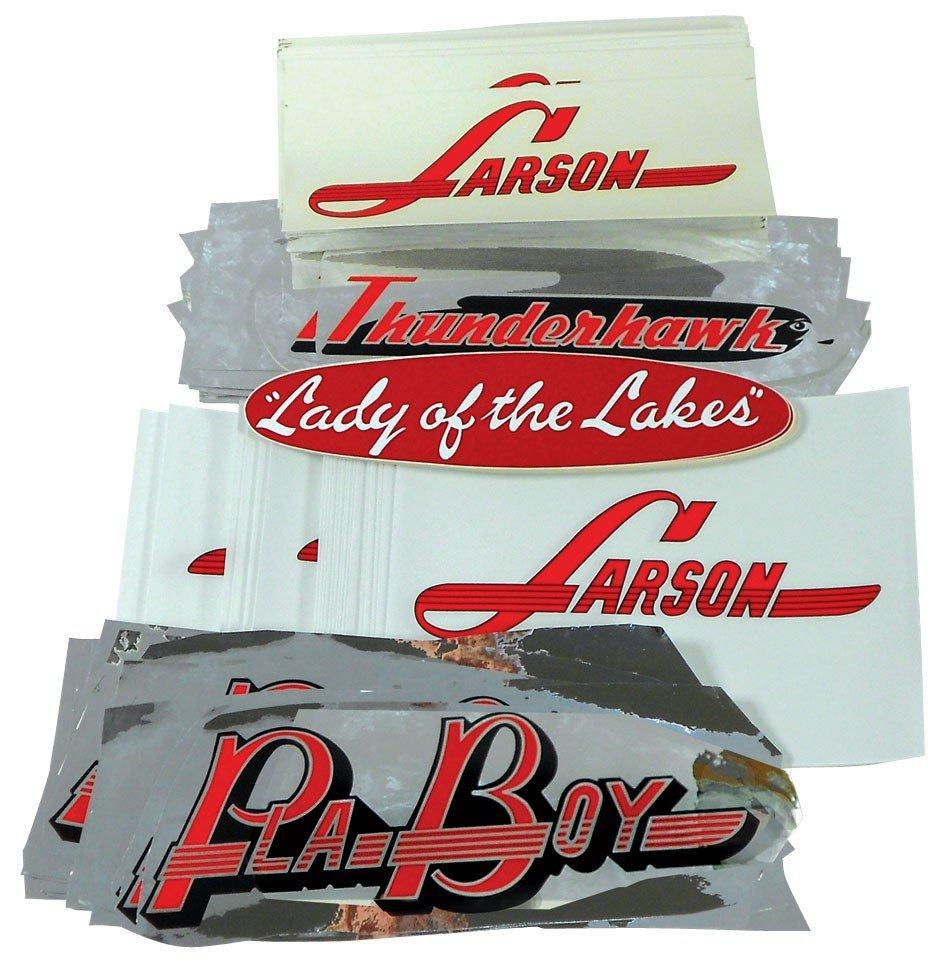 "0016: Boat decals, 26 Larson 10"" vinyl, 26 Pla-boy 12"""