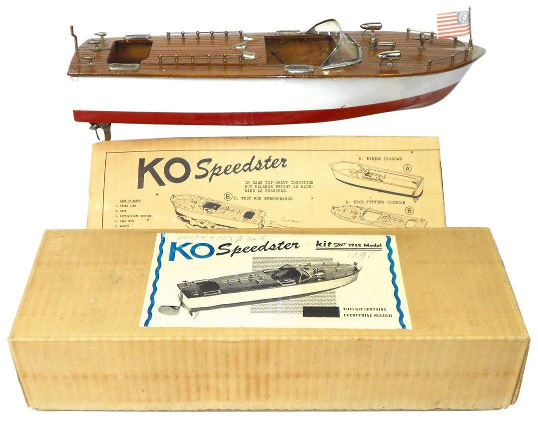0022: Toy boat, KO inboard speedster, wood, Exc cond