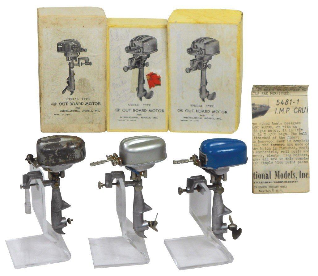 0065: Miniature outboard motors (3) w/boxes, D.C. Motor