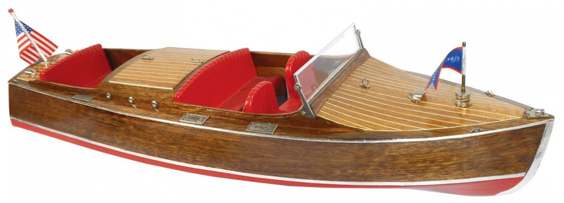 0070: Toy boat, 1930 Chris-Craft 24 ft mahogany replica