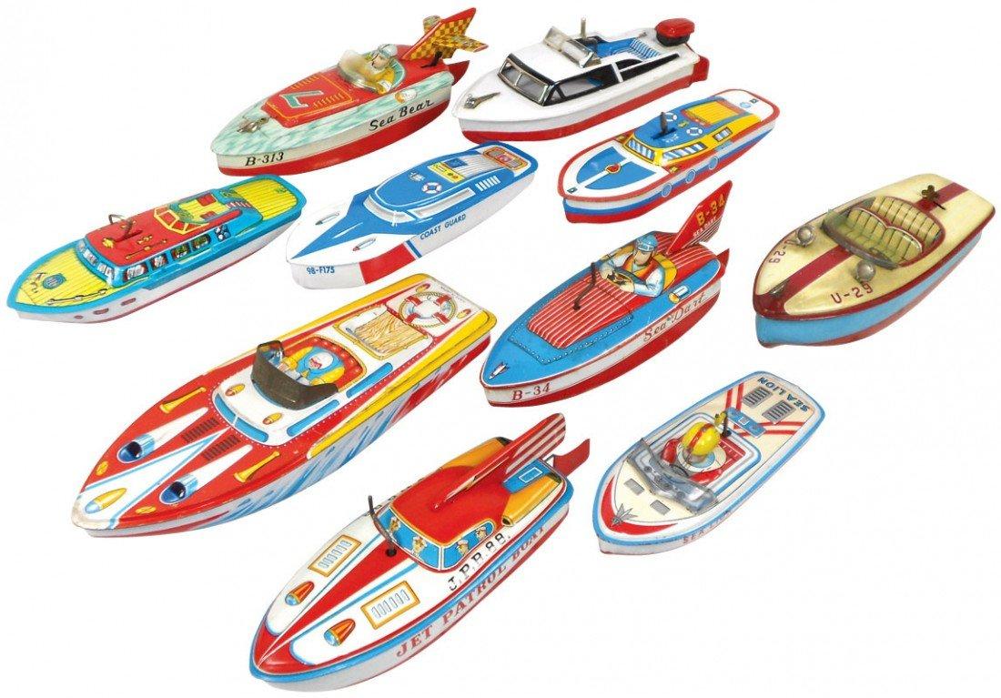0071: Toy boats (10), Japanese litho on tin & U.S manuf