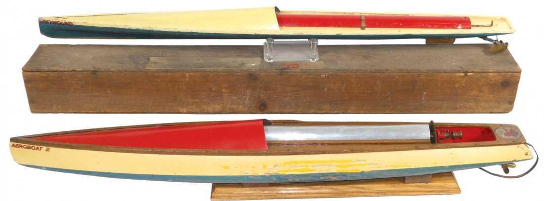 0153: Toy boats (2), Bowman Aeroboat I & Greyhound rubb