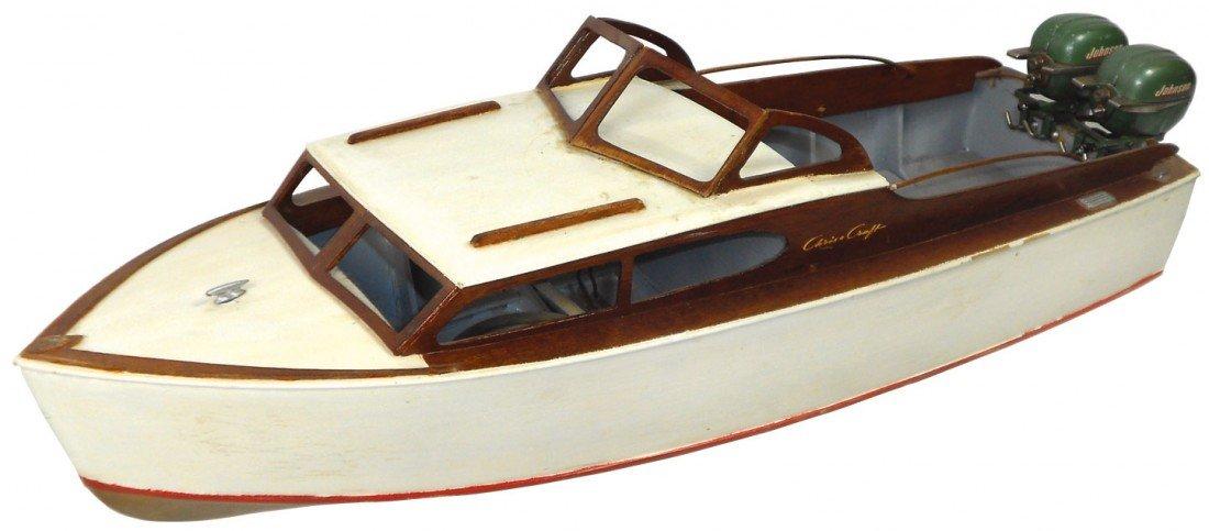 0165: Toy boat, wood Chris-Craft kit boat w/2 Johnson S