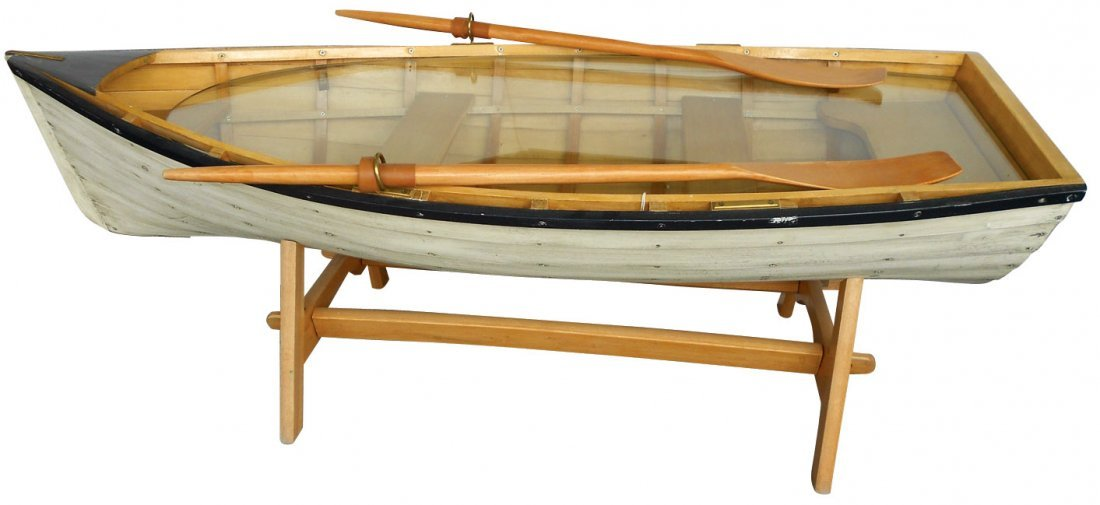 Nice 0180: Row Boat Coffee Table, Custom Made W/plate Glass