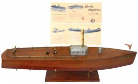 Toy Boat, Liberty Wooden Windup Sub Chaser, VG Co