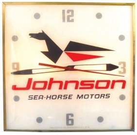 Boat Motor Dealer Advertising Clock, Johnson Sea-