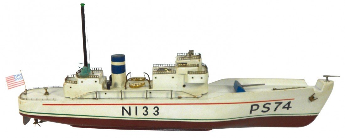 "0194: Toy boat, Japanese ITO ""N 133"", wood, battery pow"