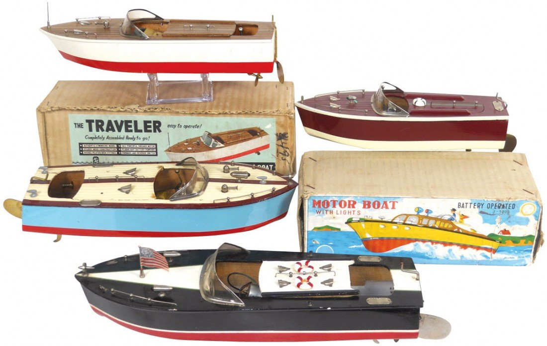 0196: Toy boats (4), all are Japanese wood boats, inclu