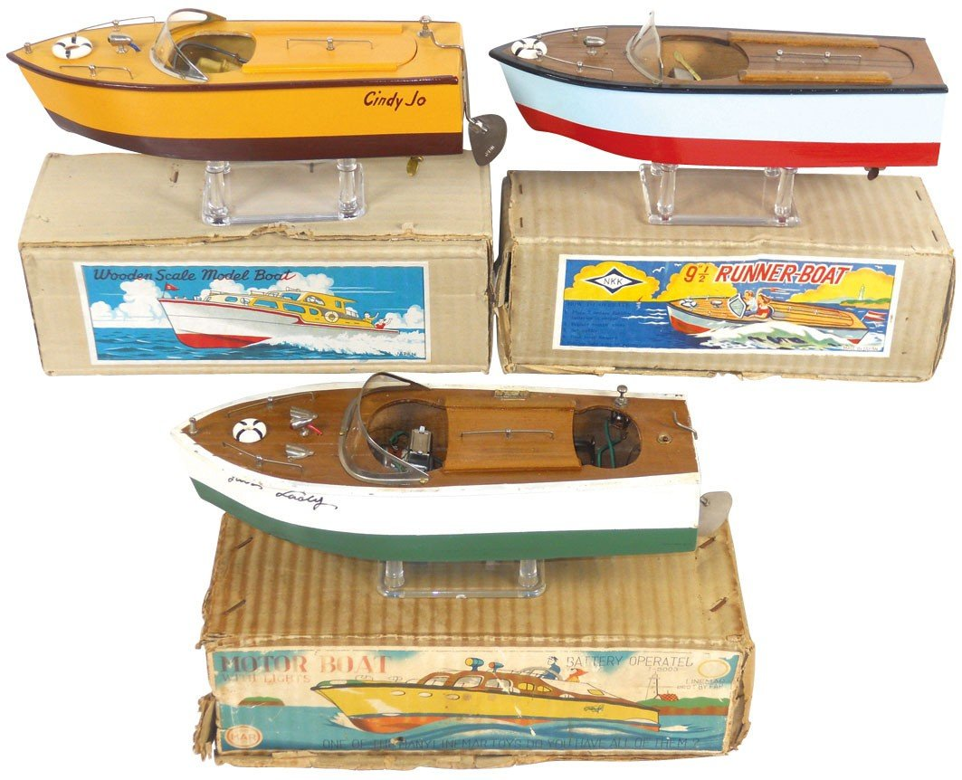 0197: Toy boats (3), all wood speed boats, one marked N