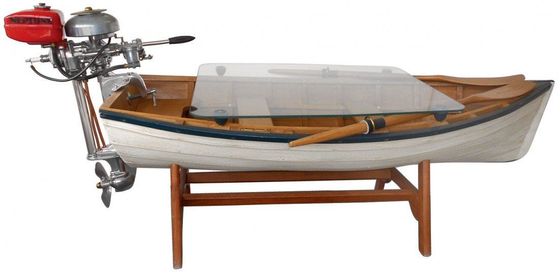 0210: Row boat coffee table w/outboard motor, a custom-