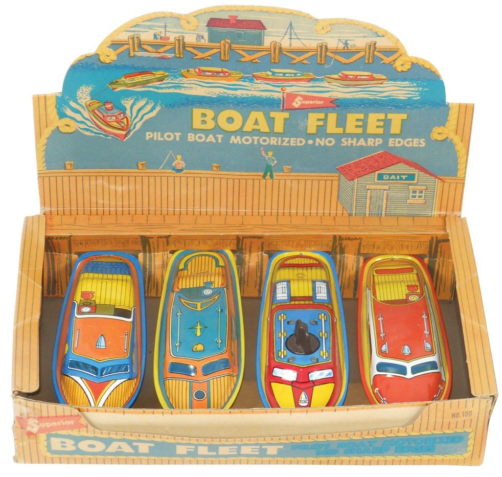 0211: Toy boat counter display box w/4 Superior metal b