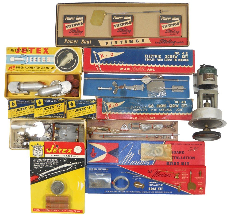 0214: Toy boat dealer parts, boxes include, Jet Master