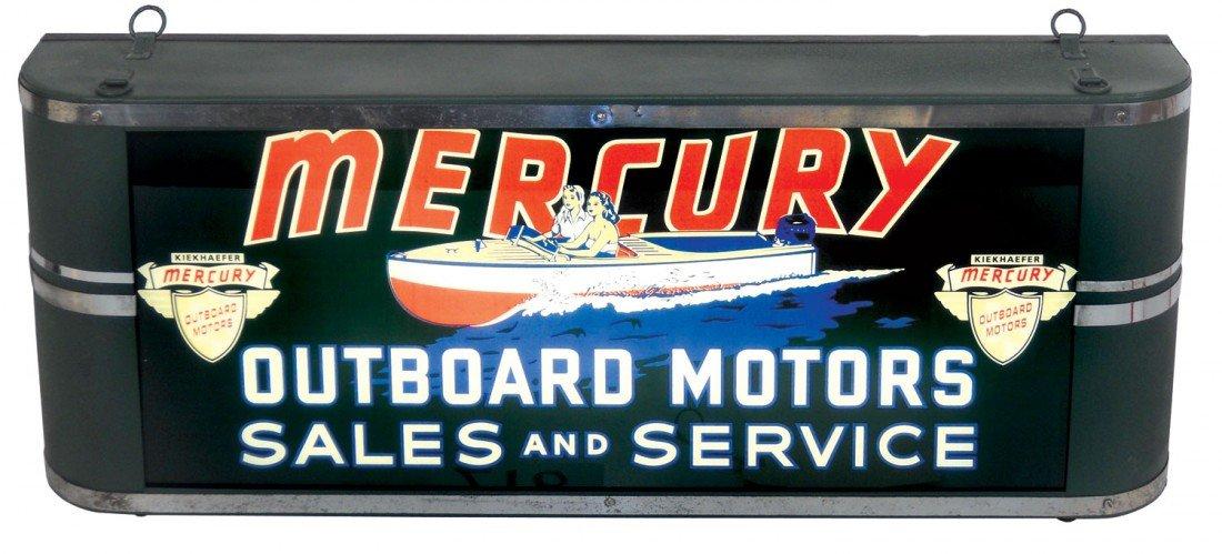 0218: Boat motor dealer advertising light-up sign, Merc