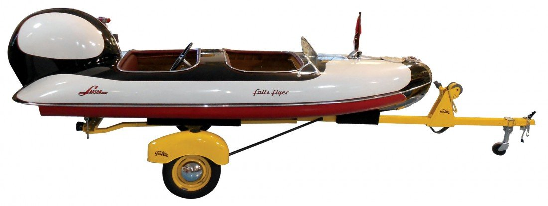 0220: Speed boat, Larson Falls Flyer, wood cedar strip