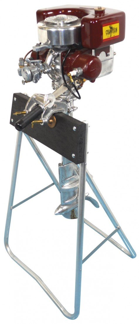 0221: Boat outboard motor w/stand, Champion Deluxe Seni