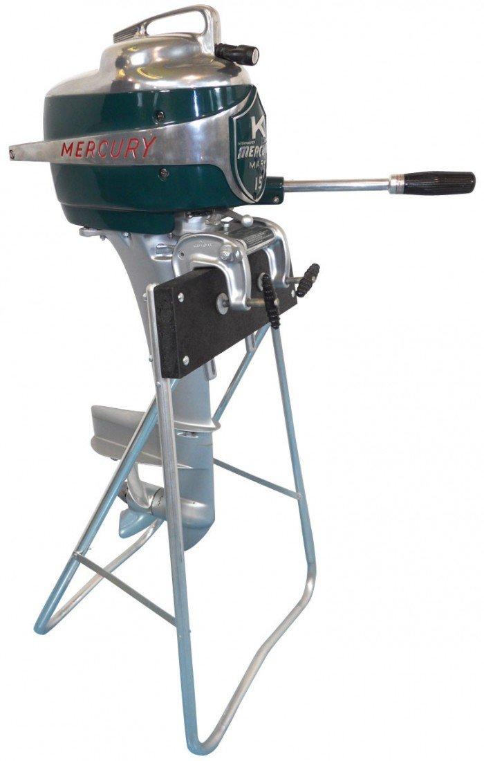 0223: Boat outboard motor w/stand, Mercury Mark 15 Rock