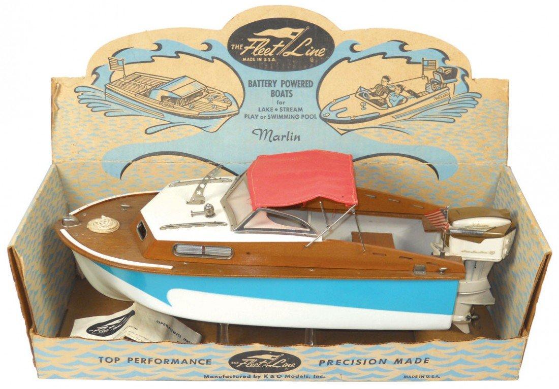 0225: Toy boat, Fleet Line Marlin w/box & 15 hr K & O J