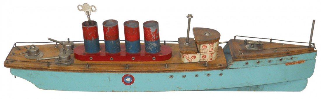 0228: Toy boat, Spirit of Liberty wood battleship w/win