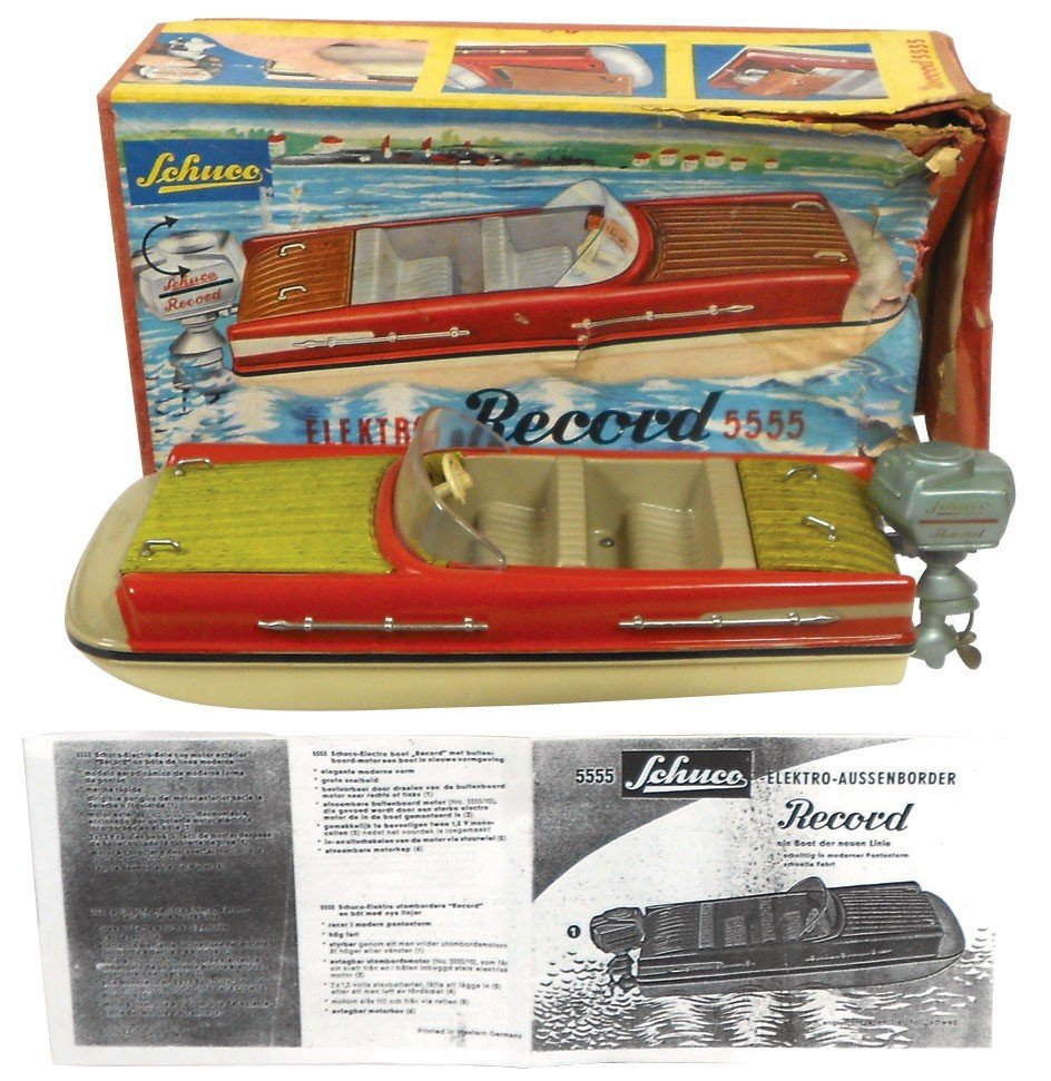 """0238: Toy boat, Schuco """"Record"""" 5555 w/outboard motor &"""