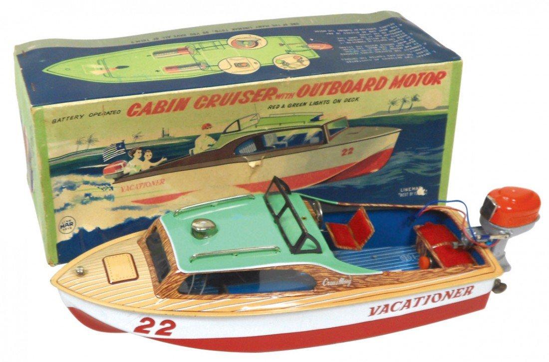 0239: Toy boat, Linemar Cabin Cruiser w/outboard motor,