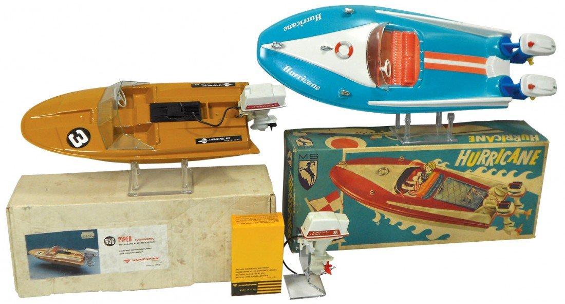 0240: Toy boats (2) & motor, MS Hurricane w/box, molded