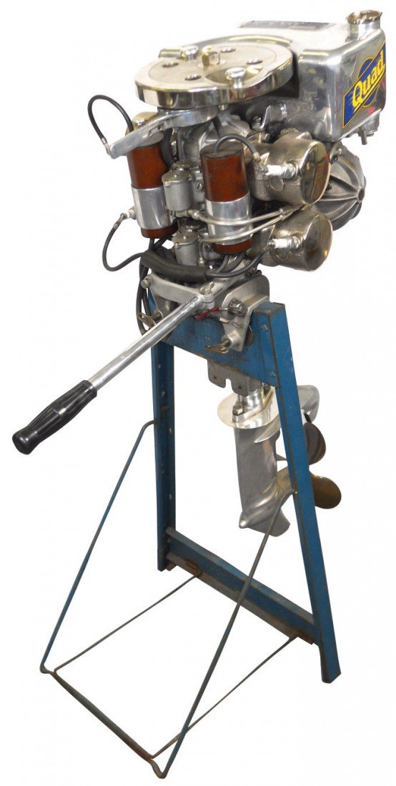 0307: Boat outboard motor w/stand, Super Elto Quad, c.1