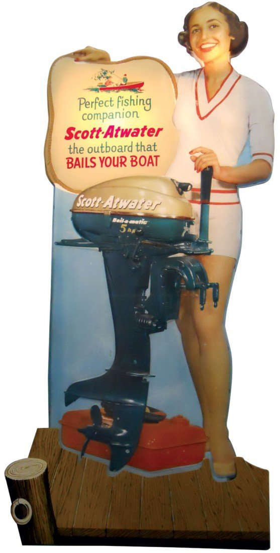 0312: Boat motor dealer advertising stand-up, a Very Ra